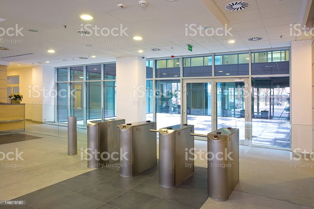 Lobby entrance with turnstile stock photo