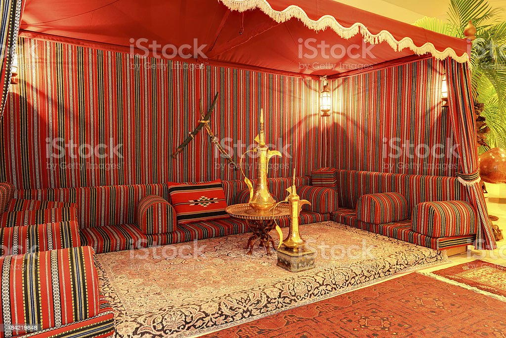 Lobby interior of luxury hotel in night illumination stock photo