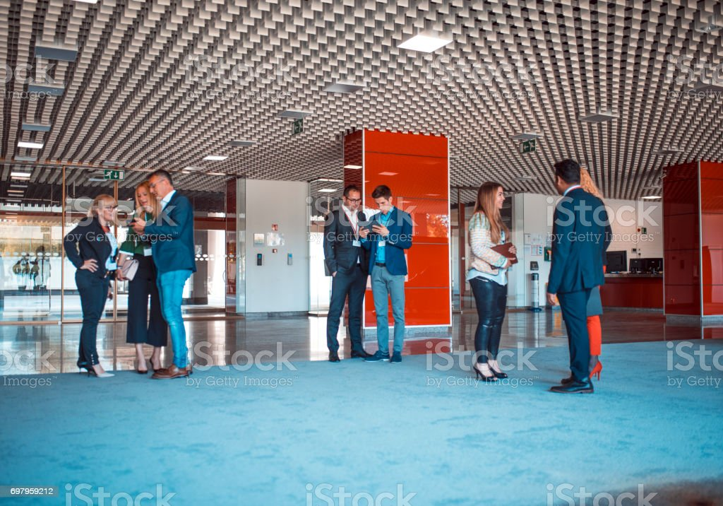 Lobby is great place for some short meetings stock photo