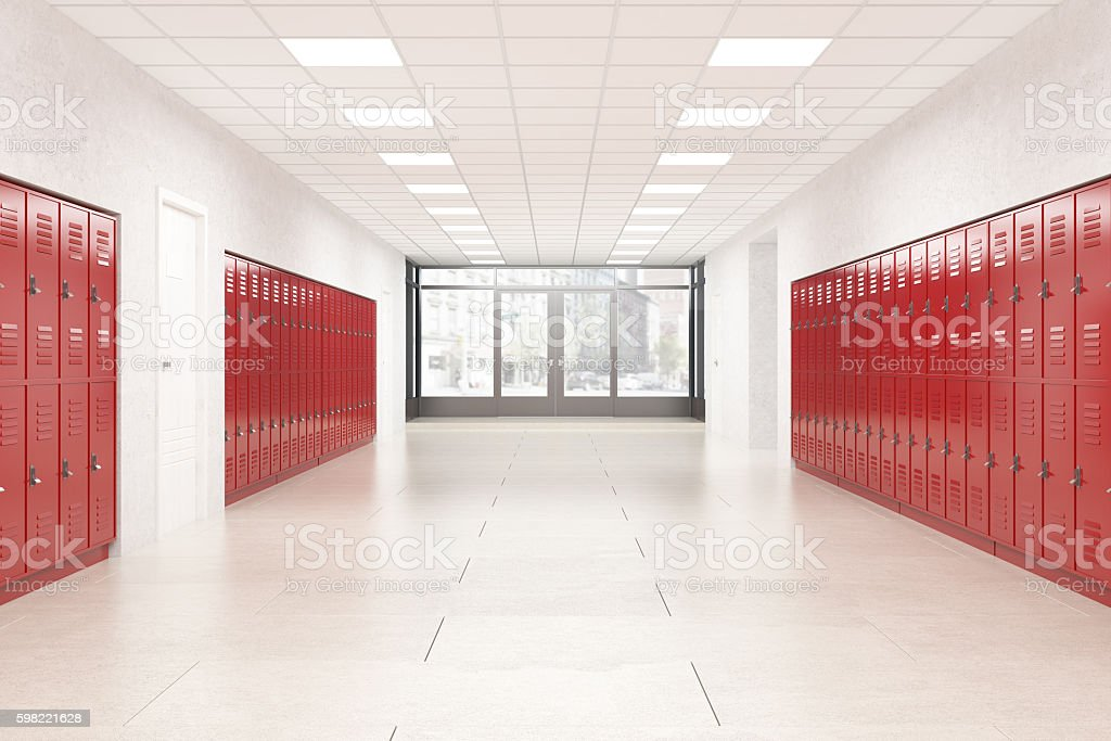 Lobby of high school stock photo