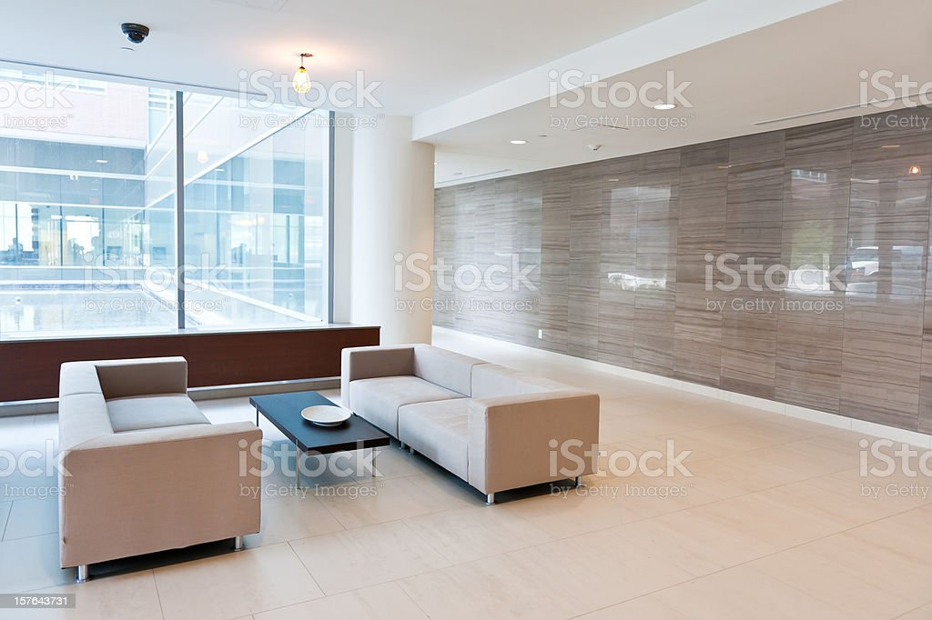 Lobby of modern building stock photo