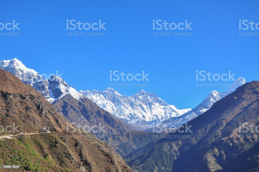 lobche and amadablam from everest trek stock photo