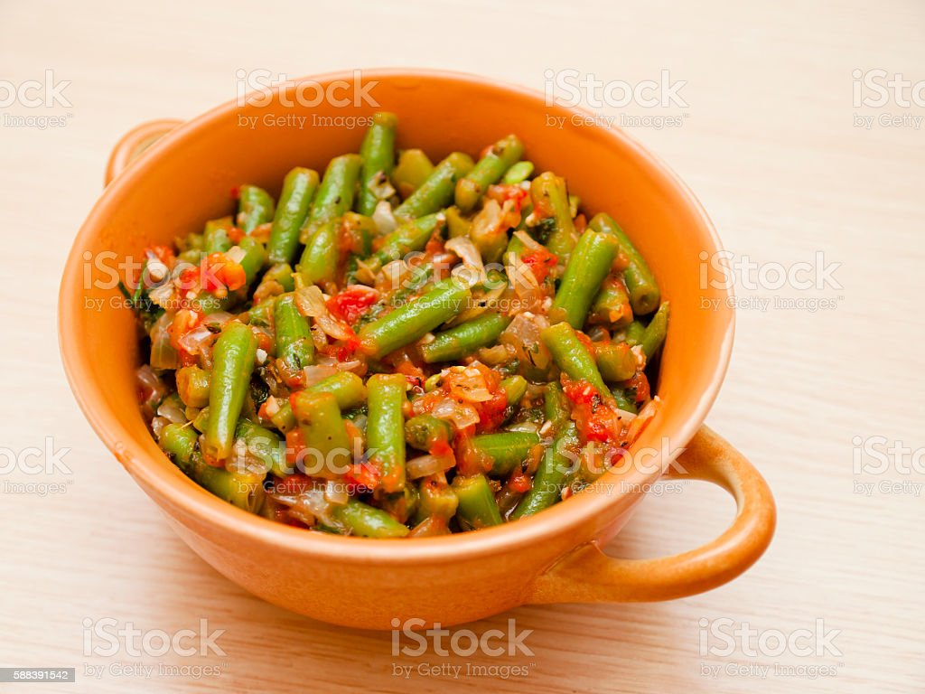 Lobio with green beans stock photo