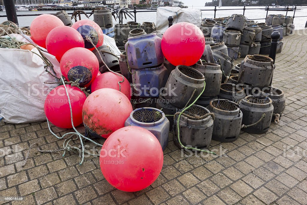 Lobster and Crab Pots and Fluorescent Buoys stock photo