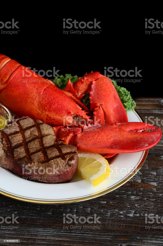 Lobster and Filet Mignon Surf and Turf Dinner stock photo