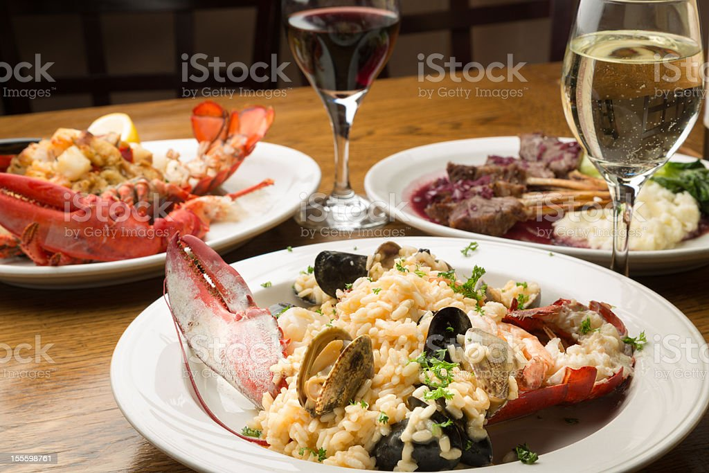 Lobster and Lamb chop Dishes stock photo