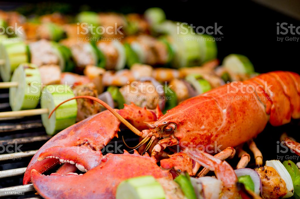 Lobster and Salmon Veggie Skewers. royalty-free stock photo