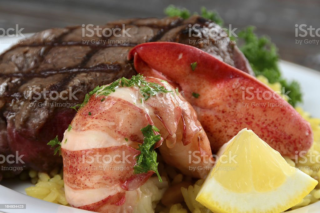 Lobster and Steak Surf n Turf royalty-free stock photo