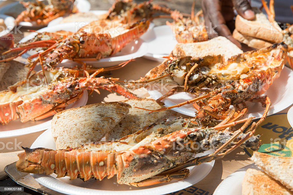 Lobster Barbecue and bread stock photo