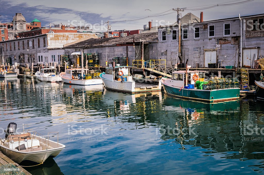 Lobster Boat Lineuo stock photo