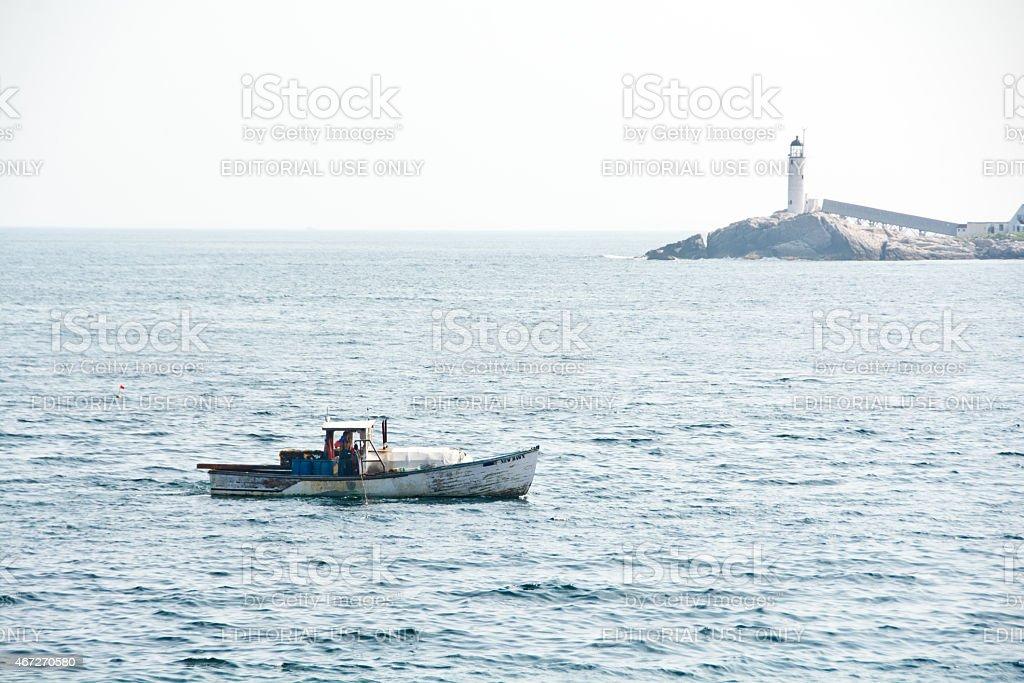 Lobster boat near White Island stock photo