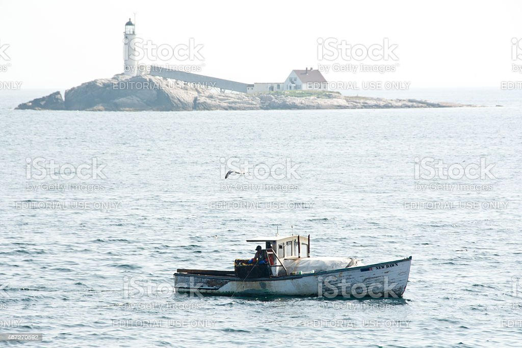 Lobster boat off White Island stock photo