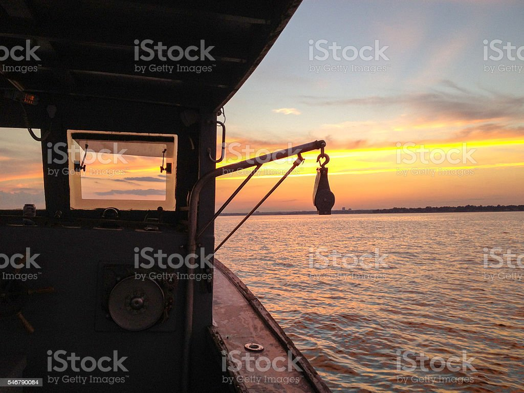 Lobster Boat Sunset stock photo