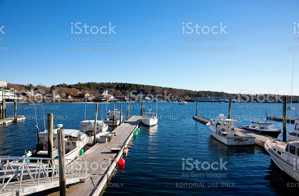 Lobster boats at the dock in Boothbay Harbor, Maine, USA stock photo