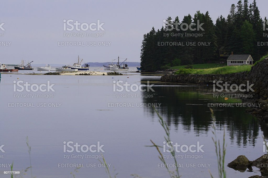 Lobster Boats Moored in a Maine Harbor stock photo