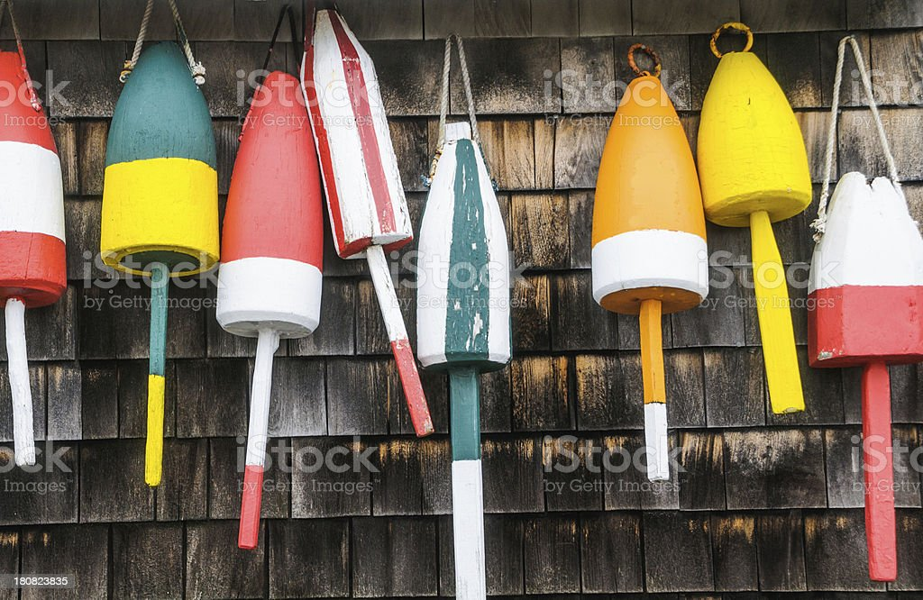 Lobster Bouys in a Row stock photo