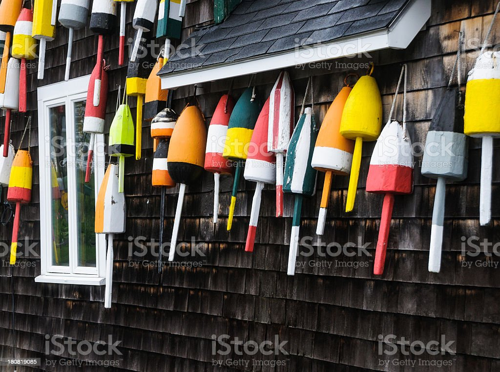 Lobster Bouys on the Wall stock photo