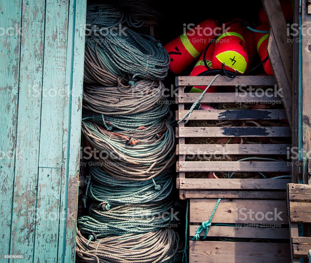 lobster buoy and rope stock photo