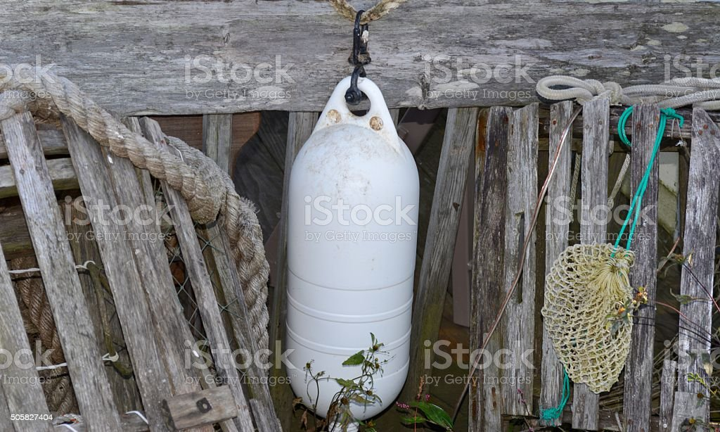 Lobster buoy and traps stock photo