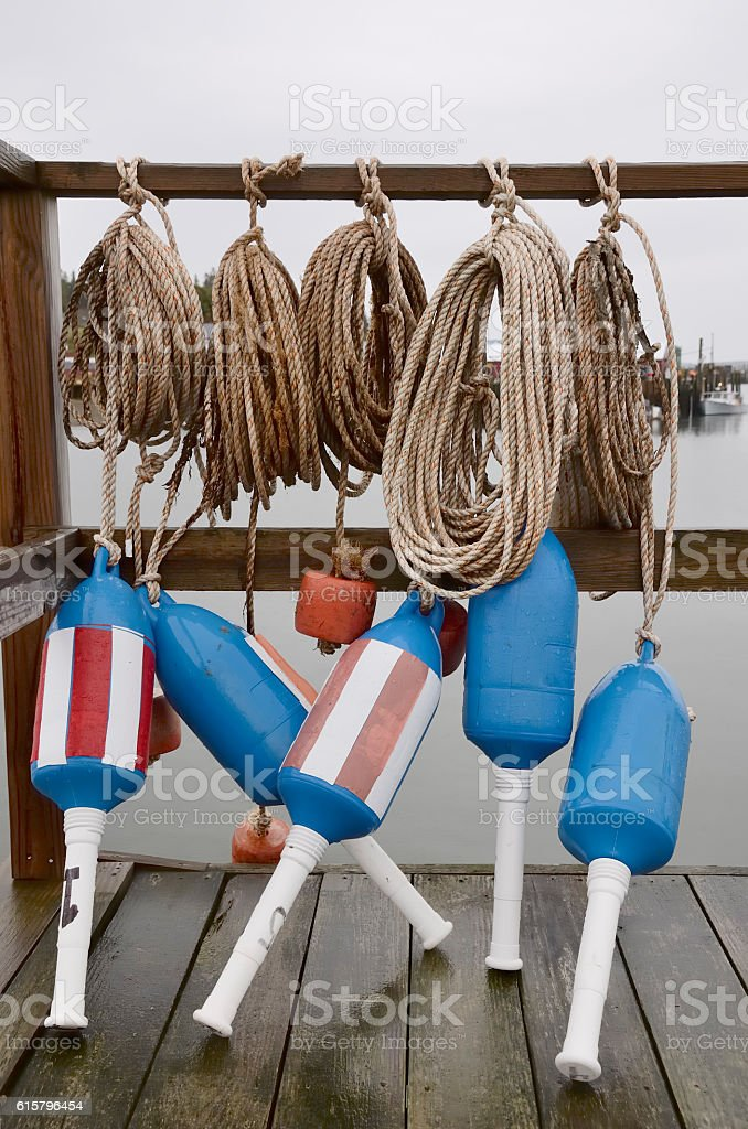 Lobster buoys and ropes. stock photo