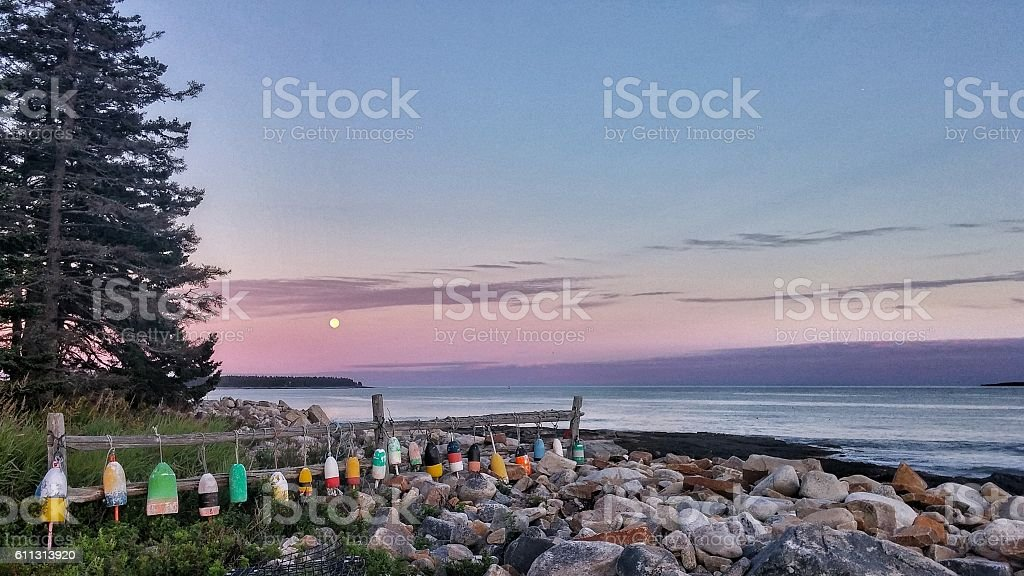 Lobster Buoys Hanging on Fence, Acadia, Maine Rocky Coast Shore stock photo
