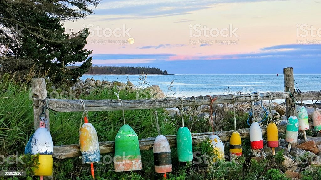 Lobster Buoys Hanging on Fence, Maine Coast, Full Moon stock photo