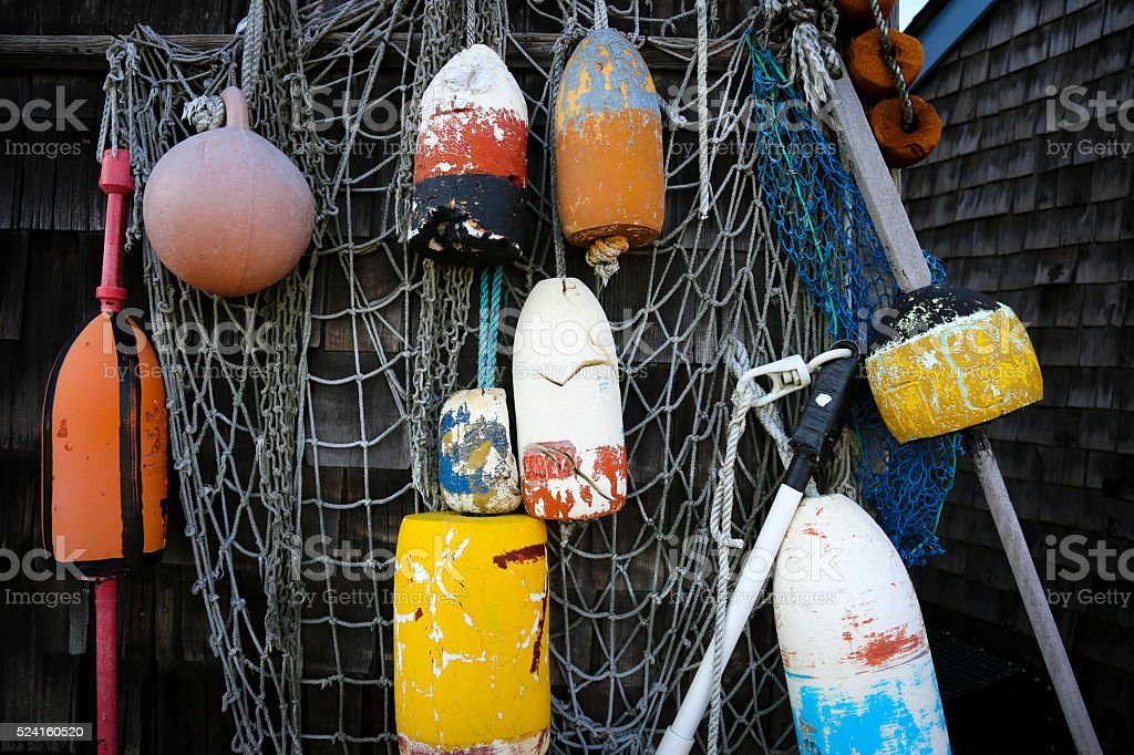Lobster buoys in Rockport MA stock photo