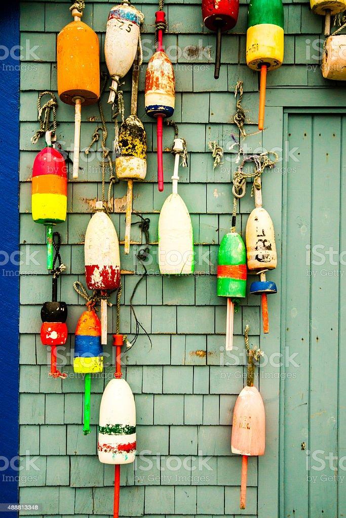 Lobster Buoys stock photo