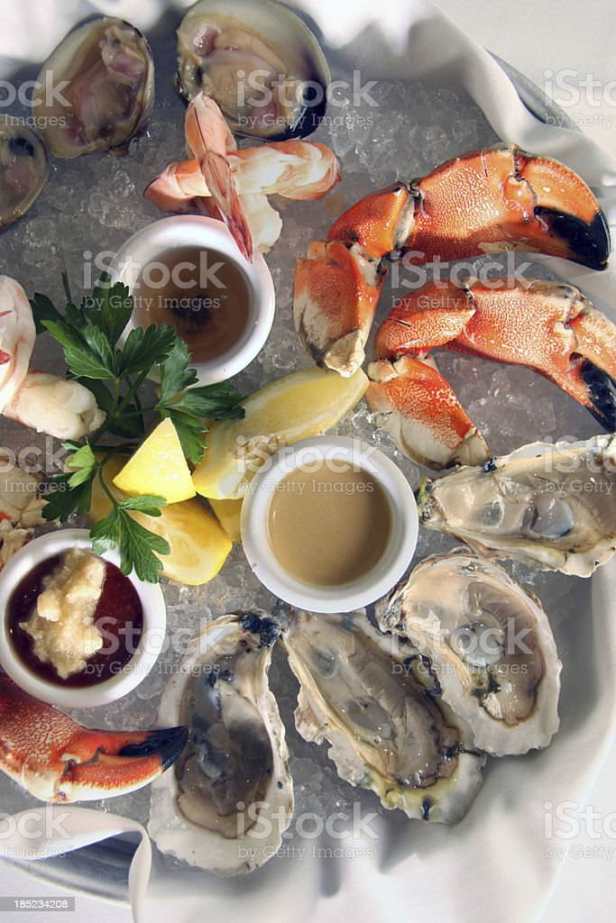 Lobster, clams, and oysters royalty-free stock photo