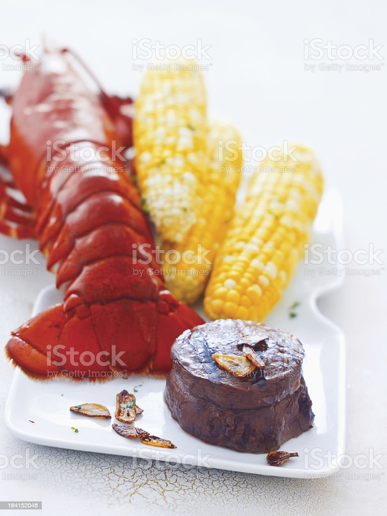 Lobster, Filet and Corn on the Cob royalty-free stock photo