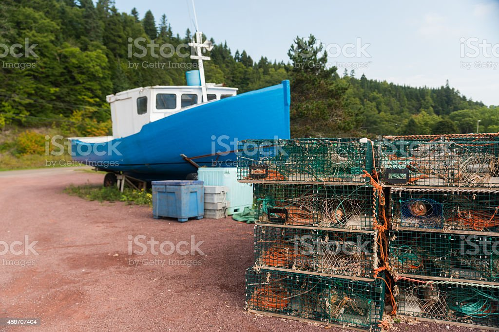 Lobster Fishing Nets & Boat stock photo