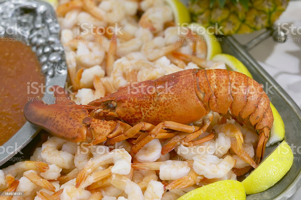 lobster on the shrimp bed stock photo