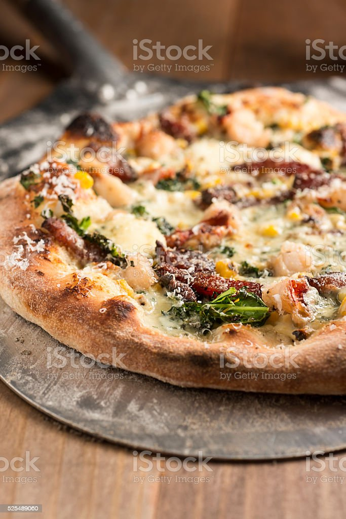 Lobster Pizza stock photo