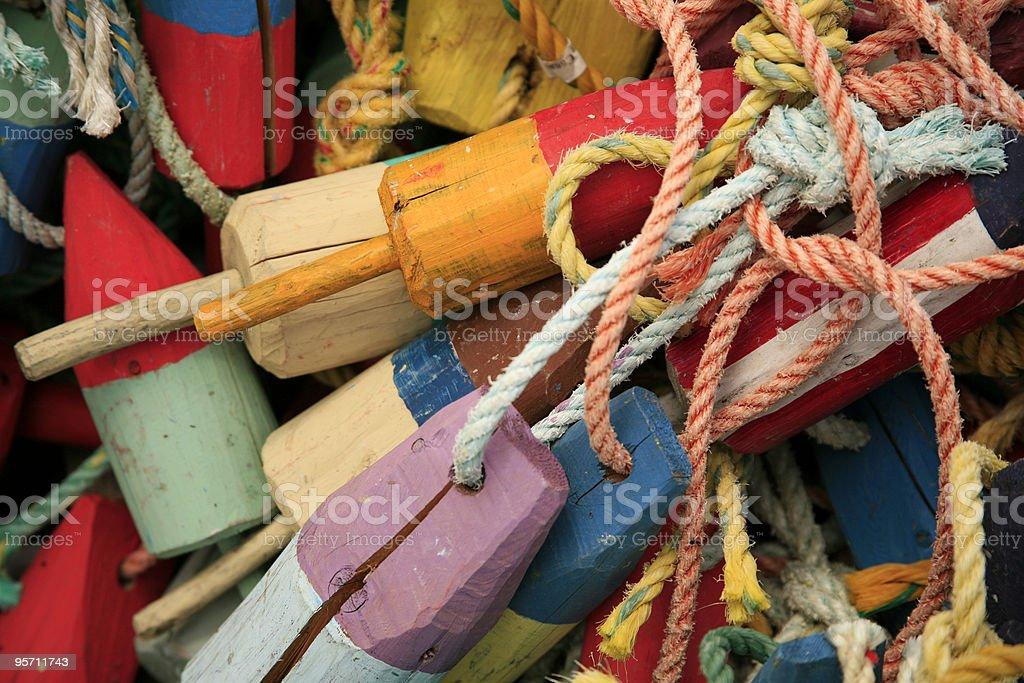 lobster pot buoys stock photo