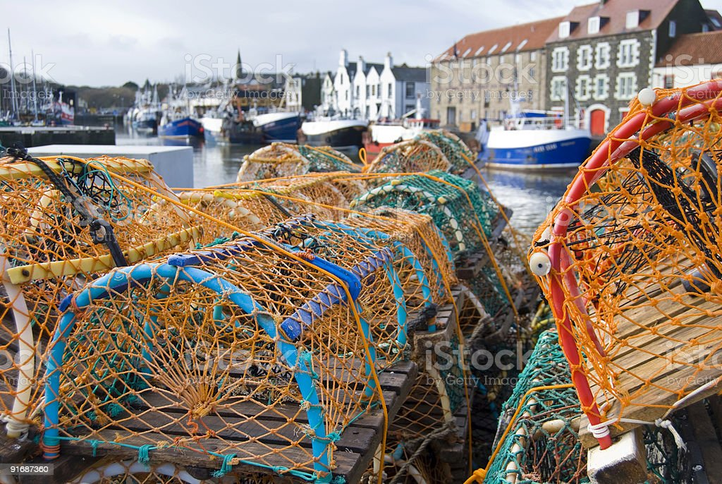 Lobster pots at Eyemouth harbour, Scotland stock photo