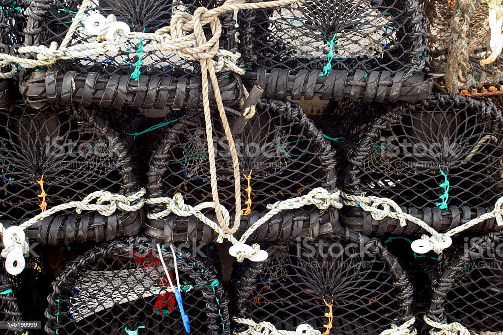 Lobster Pots Donaghadee stock photo