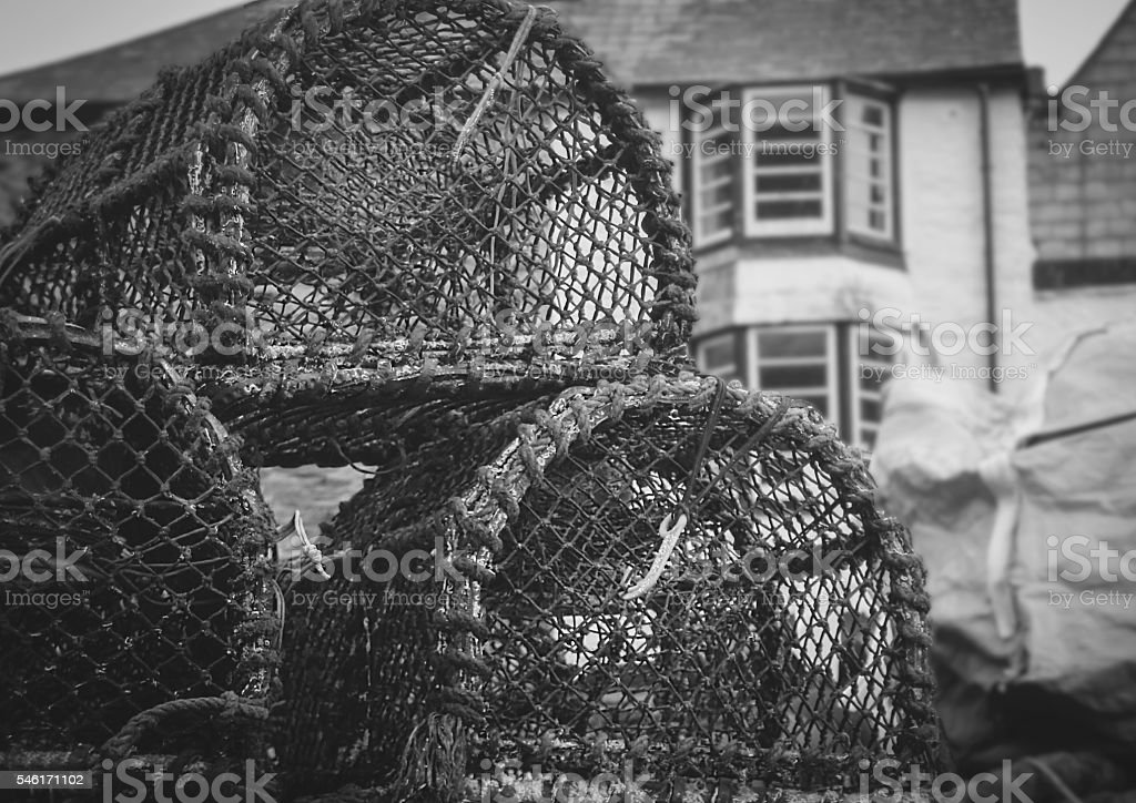 Lobster Pots in Cornwall stock photo