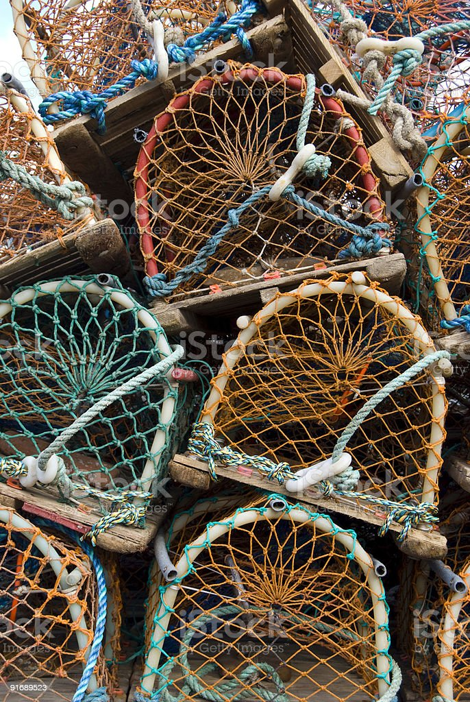 Lobster pots on Holy Island stock photo