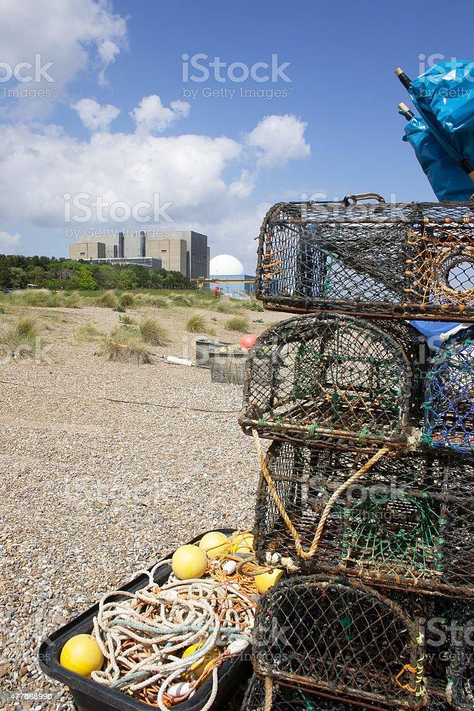 Lobster pots on Sizewell Beach, Suffolk, UK stock photo