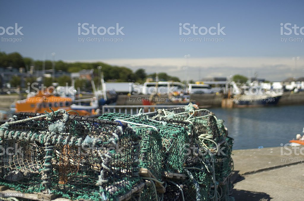 Lobster Pots Photographed on the Pier stock photo