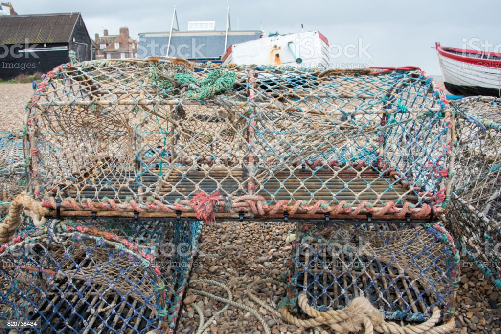 Lobster Pots Stack stock photo