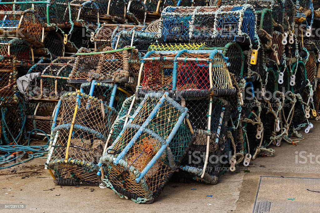 Lobster pots stacked In Staithes, North Yorkshire, England stock photo