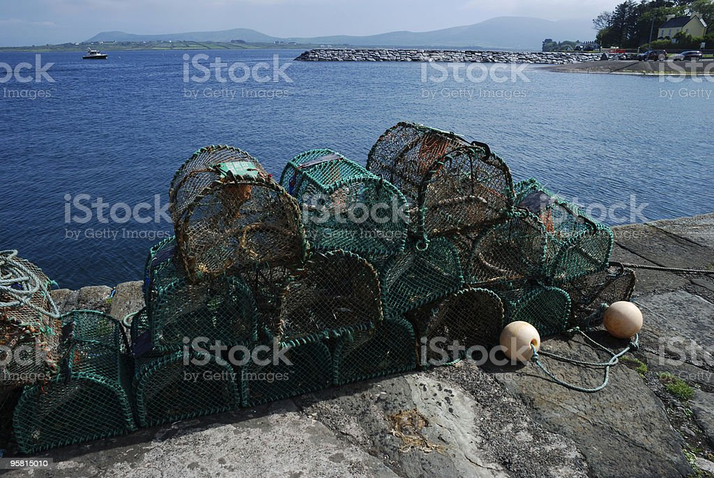 Lobster Pots with Ocean in Background royalty-free stock photo