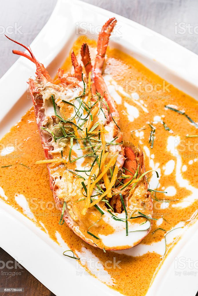 Lobster red curry stock photo