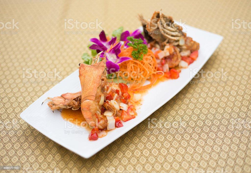 lobster salad Thai style stock photo
