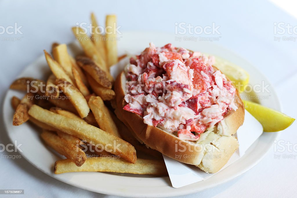 Lobster Seafood Roll Sandwich with French Fries stock photo