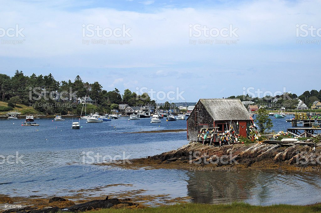 Lobster shack in a Maine harbor stock photo
