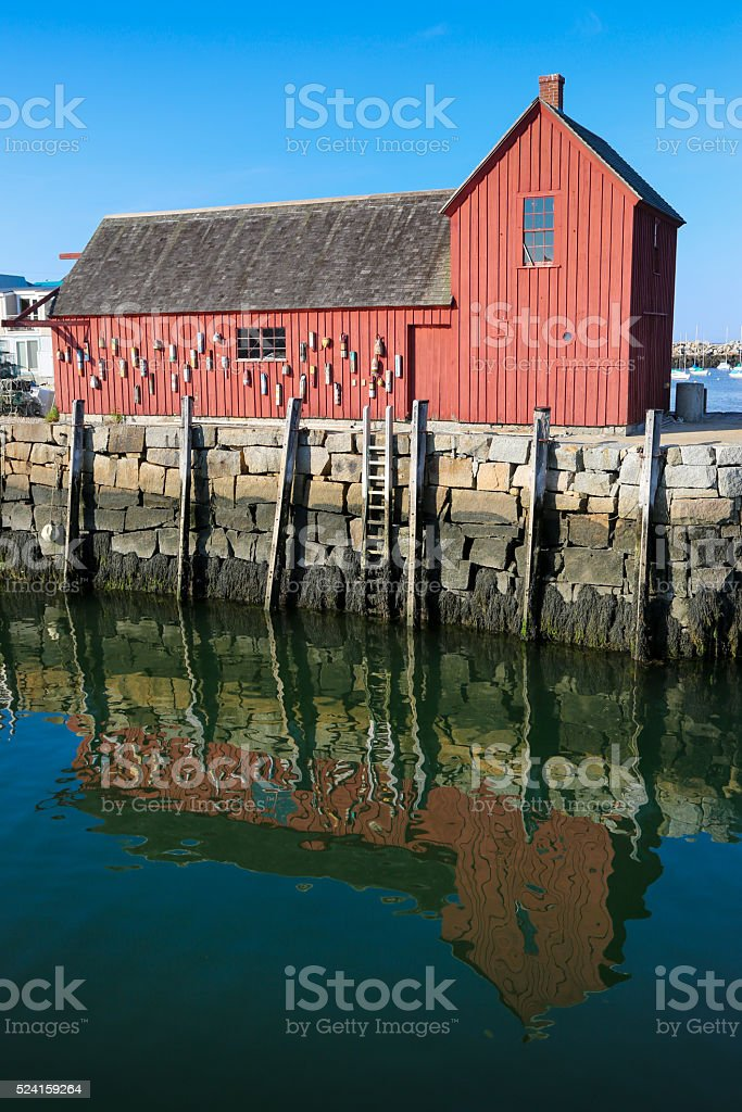 Lobster shack in Rockport, MA stock photo