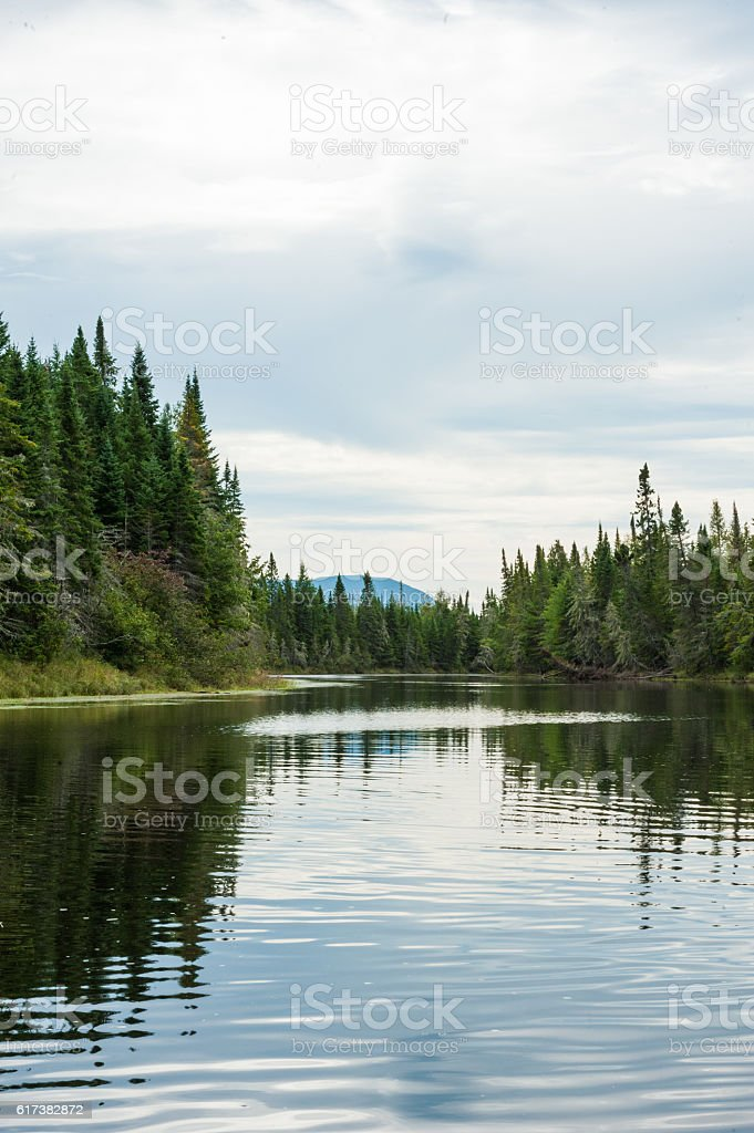 Lobster stream with Mount Katahdin in the background, Maine stock photo