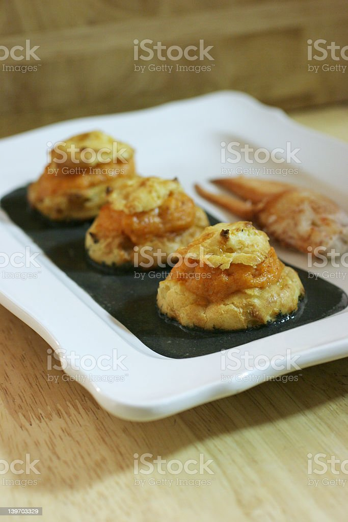 Lobster Stuffed Profiterole stock photo
